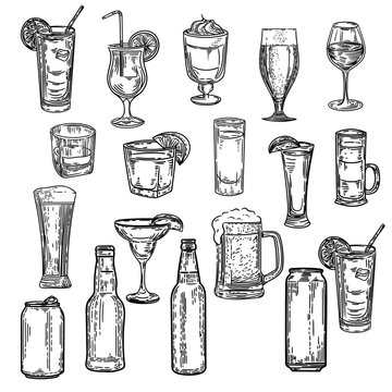 Vector hand drawn of big set with alcohol drinks.