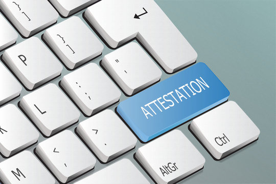 attestation written on the keyboard button