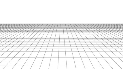 Vector perspective grid. Detailed lines on white background. Wall mural