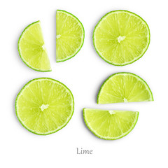 Wall Mural - Lime slices isolated