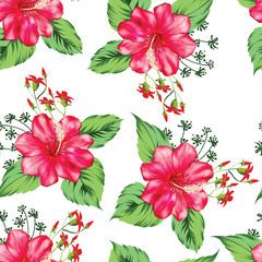 Tropical beautiful red flower with leave seamless pattern