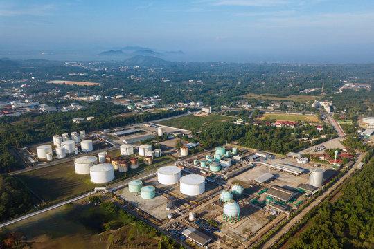 Aerial view of petroleum terminal