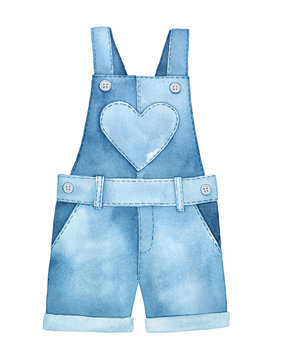 Light blue kids denim overall with heart shaped pocket, straps and buttons. One single object, front view. Handdrawn watercolour graphic drawing, cutout clip art element for design decoration.