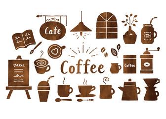 コーヒーとカフェ水彩茶色