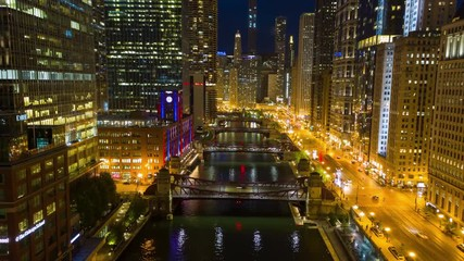 Fototapete - Chicago night evening hyperlapse timelapse buildings skyline downtown