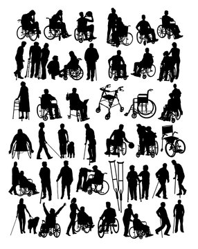 Disabled People Activity Silhouettes, art vector design