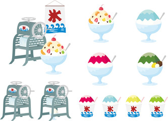 Japanese shaved ice machine set