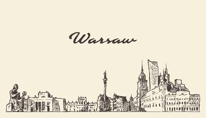 Fototapete - Warsaw skyline Poland hand drawn vector sketch