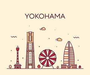 Fototapete - Yokohama skyline, Japan Trendy vector linear style