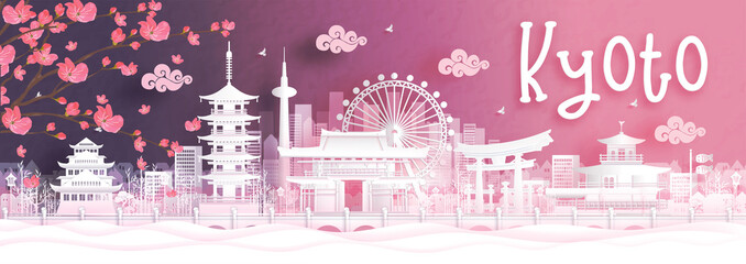 Fototapete - Autumn season with falling Sakura flower and Kyoto city skyline, Japan and world famous landmarks in paper cut style vector illustration