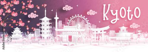 Fototapete Autumn season with falling Sakura flower and Kyoto city skyline, Japan and world famous landmarks in paper cut style vector illustration