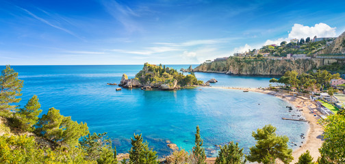 Panoramic view of Isola Bella small island near Taormina, Sicily, Italy. Wall mural
