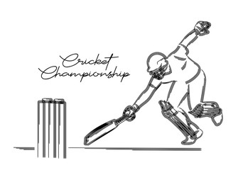 Concept of Batsman playing cricket- cricketer running between the wicket ( Run Out ) - championship, Line art design Vector illustration.