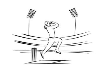 Bowler bowling in cricket championship sports. Line Art design - Vector Illustration.