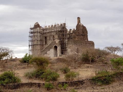Half ruined castle of Cura Thumbs Up, North Ethiopia
