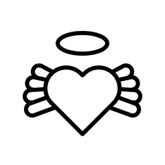 Heart with wing vector, Valentine and love related line icon