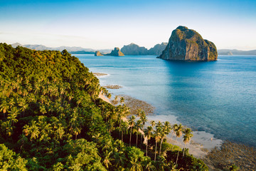 Aerial view Las Cabanas beach in El Nido, Palawan, Philippines