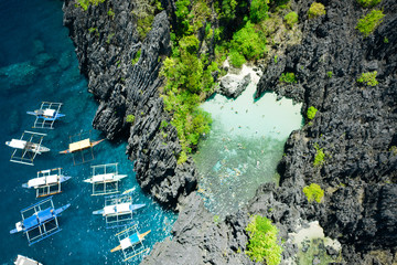 Aerial view of Secret beach in El Nido, Palawan, Philippines