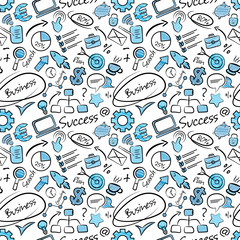 Seamless pattern with business icons in doodle style. Funny finance texture for office or print. Hand drawn seamless wallpaper pattern with presentation symbols.