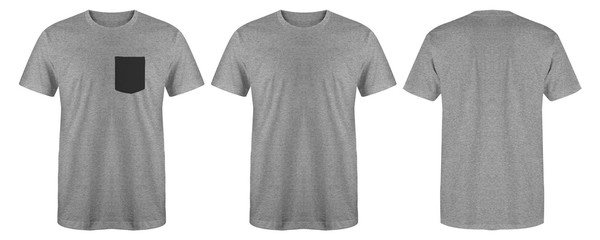 Blank t shirt set bundle pack. Heather grey t shirt isolated on white background with three different style, suitable for mock up or presentation your project. Wall mural