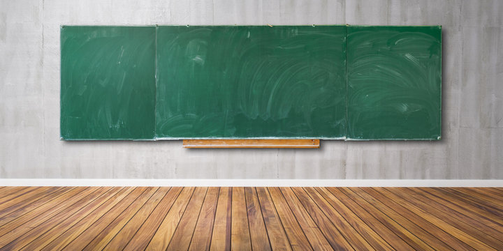 Blank green chalkboard, blackboard texture with copy space hangs on gray grunge wall and wooden floor 3D-Illustration