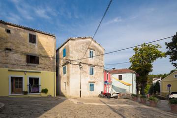 Wall Mural - street scene in Mali Losinj town in Croatia.