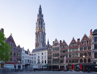 Wall Mural - Market square and Cathedral of Our Lady square in Antwerpen, Belgium.