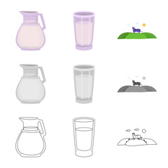 Vector illustration of creamy and product logo. Collection of creamy and farm stock vector illustration.