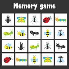 Memory game with pictures -insect theme for children, xmas fun education game for kids, preschool activity, task for the development of logical thinking, vector illustration