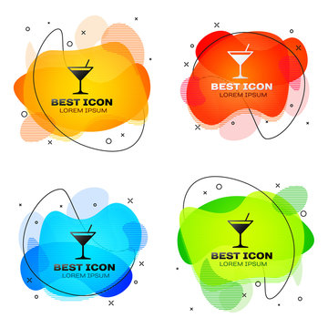 Black Martini glass icon isolated on white background. Cocktail icon. Wine glass icon. Set of liquid color abstract geometric shapes. Vector Illustration