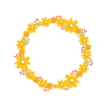 Beautiful floral wreath with yellow flowers. Round cute frame with your text. Design element for invitations, greeting cards, bunners and more