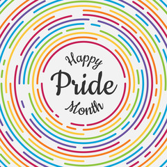 Happy Pride month banner with typography text in abstract colorful rainbow line dash circle texture background vector design