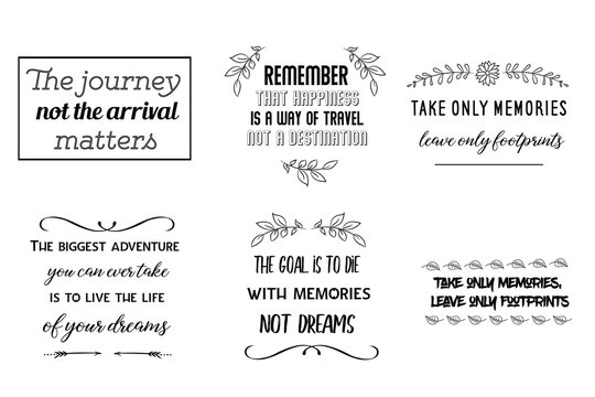 Calligraphy saying for print about Travel and adventures. Vector Quote for typography and Social media post. Modern Inspiration Design