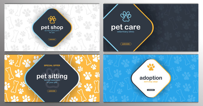 Pet shop, Care, Pet sitting. Adoption. Home animals. Banner with cat or dog paws. Hand draw doodle background.