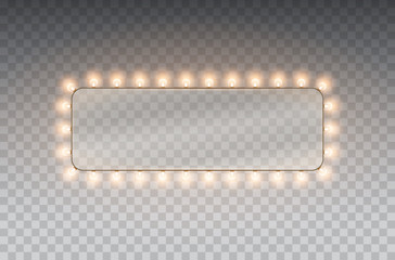 Light rectangle banner isolated on transparent background. Vector Hollywood bulbs frame or Las Vegas casino night sign.