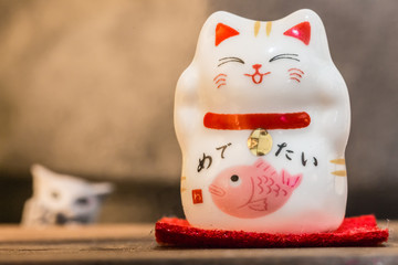 cute ceramics happy cat display on table