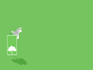 White paper bird with green leaf, white smart phone device gadgets white trees on green display paperless idea go green concept, conceptual design, save the planet, Low polygonal style flat vector