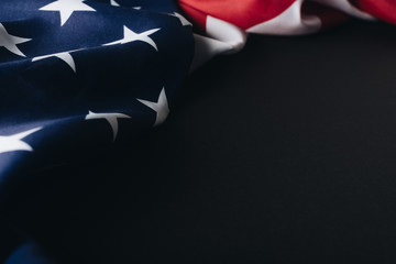 national flag of united states of america isolated on black, memorial day concept Wall mural