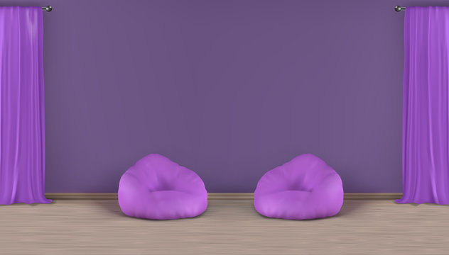 Home living room, lounge zone realistic vector minimalistic violet interior mockup with empty wall behind two bean bag chairs on laminated floor, window heavy curtains on metallic rods illustration