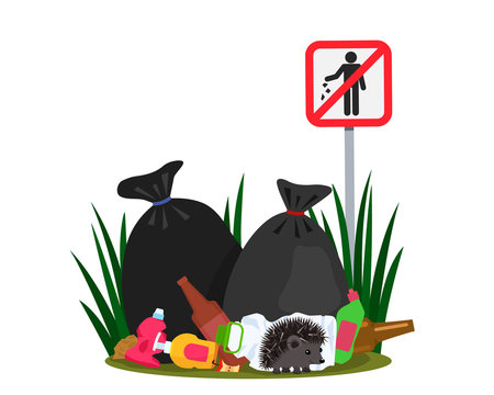 Ecological disaster from plastic waste in the forest. a cute hedgehog near his mink on the background of a landfill and garbage bags.