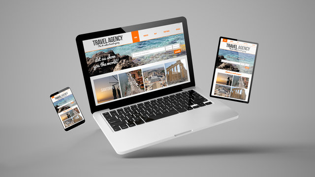 flying tablet, laptop and mobile phone showing travel agency responsive web design