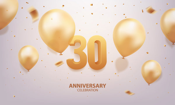 30th Anniversary celebration. 3D Golden numbers with confetti and balloons.