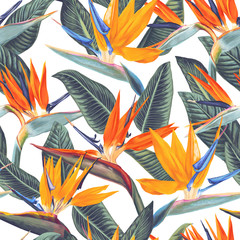 Bright seamless pattern with tropical flowers and leaves of Strelitzia Reginae. Realistic style, hand drawn, vector. Background for prints, fabric, invitation cards, wedding decoration, wallpapers.