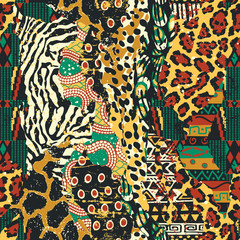 Fototapeta Traditional african fabric and wild animal skins patchwork wallpaper vector seamless pattern obraz