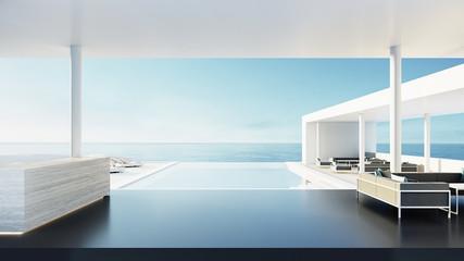 Fototapeta Reception desk of resort & hotel / 3D rendering