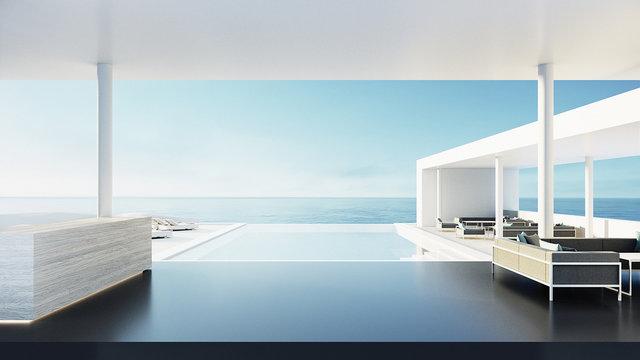 Reception desk of resort & hotel / 3D rendering
