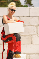 Woman working with airbricks