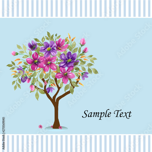 Abstract Spring Tree With Watercolor Flowers Elegant Spring