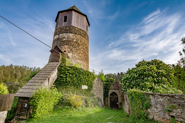 Old medieval round tower with hexagonal top