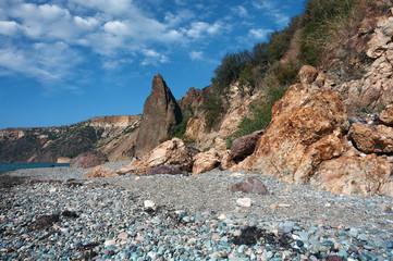 Black Sea Coast, Jasper Beach, Monk Rock, Cape Fiolent, Sevastopol, Crimea, Russia